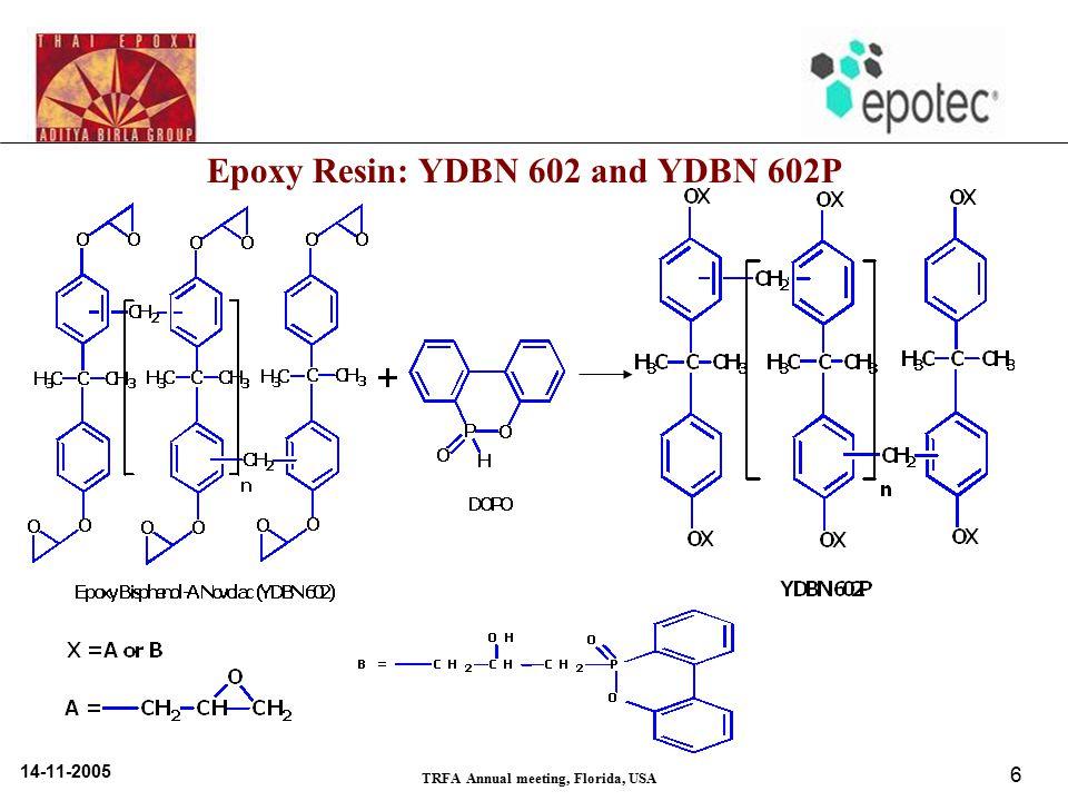 14-11-2005 TRFA Annual meeting, Florida, USA 6 Epoxy Resin: YDBN 602 and YDBN 602P