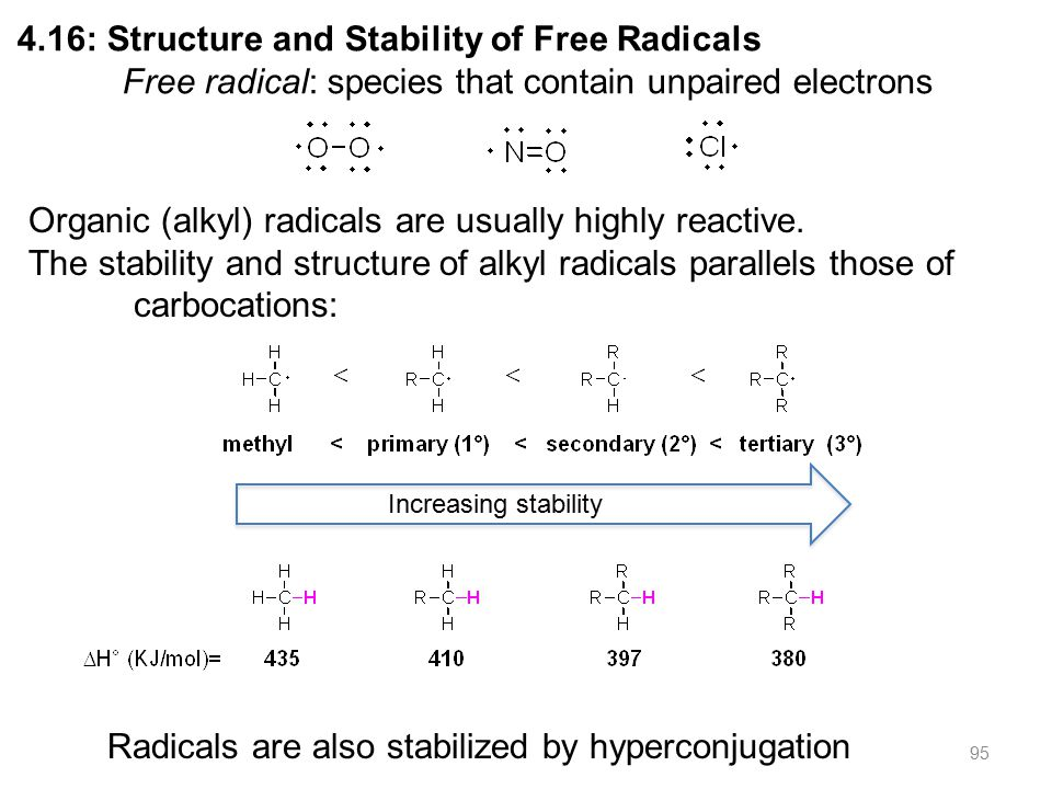 95 4.16: Structure and Stability of Free Radicals Free radical: species that contain unpaired electrons Organic (alkyl) radicals are usually highly reactive.