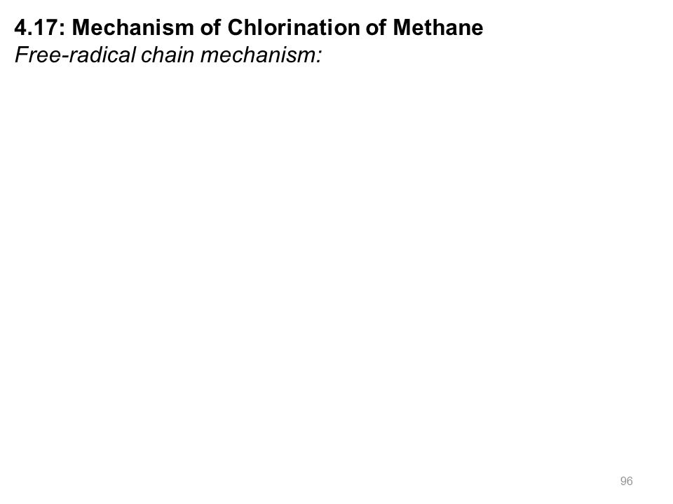 96 4.17: Mechanism of Chlorination of Methane Free-radical chain mechanism: