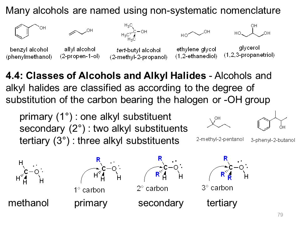 79 4.4: Classes of Alcohols and Alkyl Halides - Alcohols and alkyl halides are classified as according to the degree of substitution of the carbon bearing the halogen or -OH group primary (1°) : one alkyl substituent secondary (2°) : two alkyl substituents tertiary (3°) : three alkyl substituents Many alcohols are named using non-systematic nomenclature methanol primary secondary tertiary