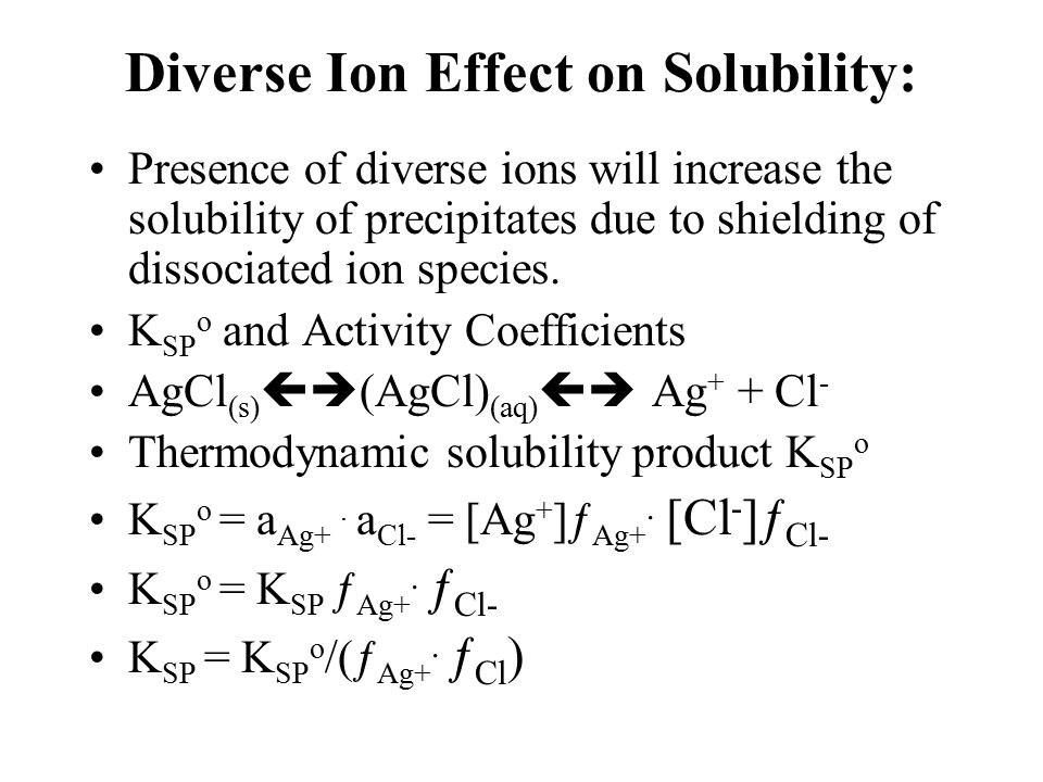 Diverse Ion Effect on Solubility: Presence of diverse ions will increase the solubility of precipitates due to shielding of dissociated ion species.