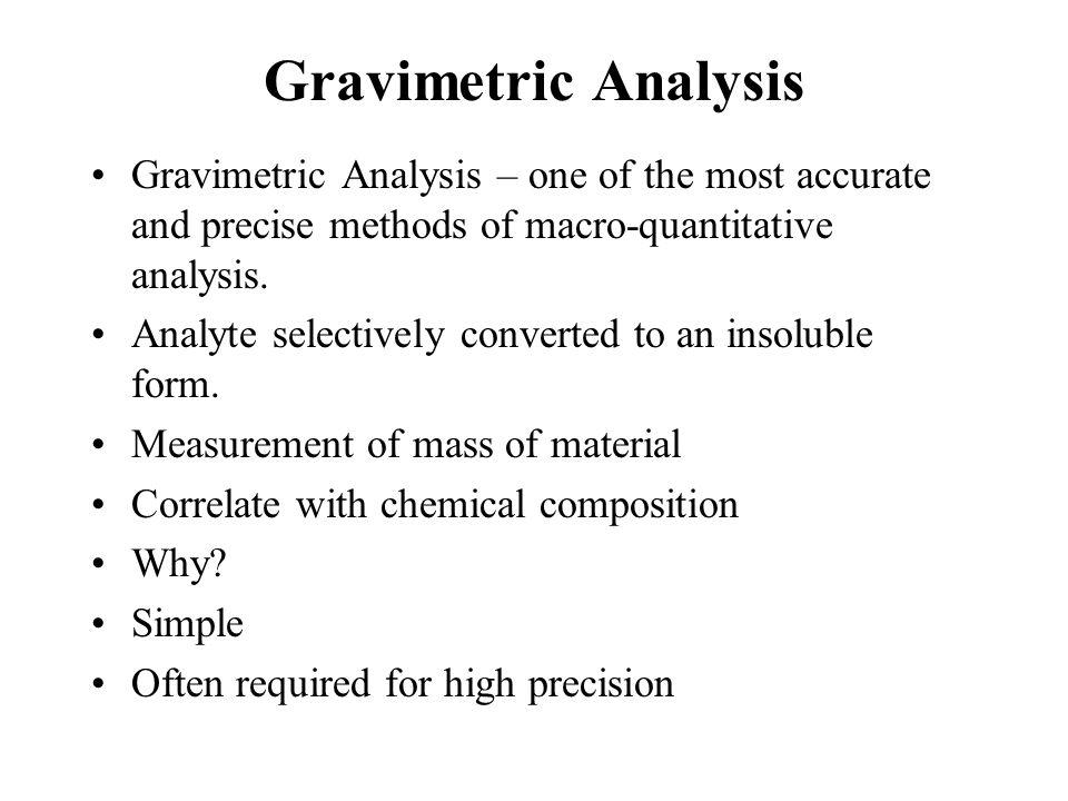 Gravimetric Analysis How.