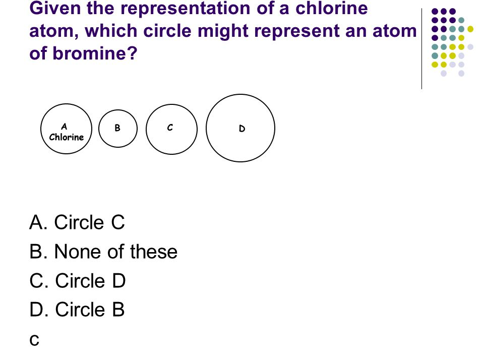 Given the representation of a chlorine atom, which circle might represent an atom of bromine? A. Circle C B. None of these C. Circle D D. Circle B c
