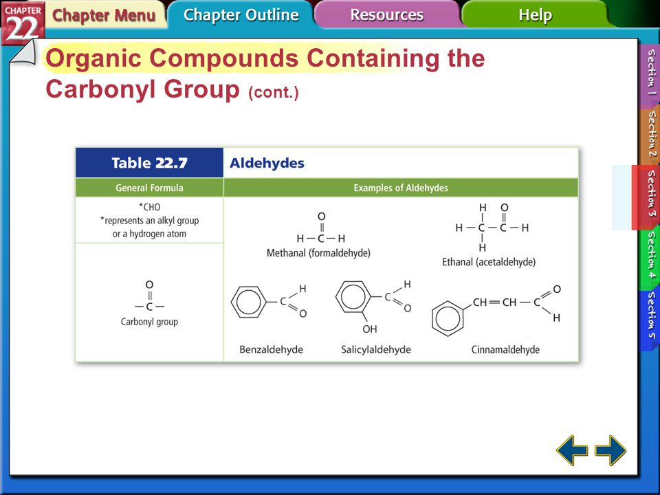 Section 22-3 Organic Compounds Containing the Carbonyl Group An oxygen atom double-bonded to a carbon atom is a carbonyl group.carbonyl group Aldehyde