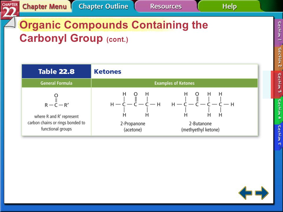 Section 22-3 Organic Compounds Containing the Carbonyl Group (cont.) Ketones are popular solvents for moderately polar substances. Ketones are somewha