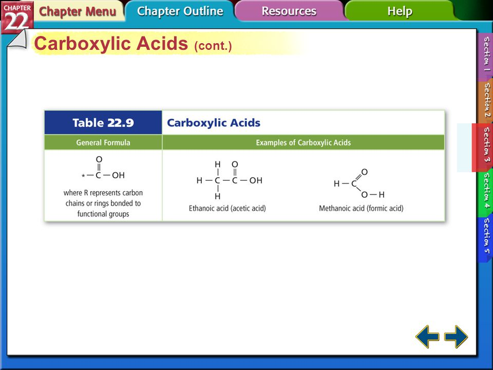 Section 22-3 Carboxylic Acids Carboxylic acids are organic compounds that have a carboxyl group.Carboxylic acids Carboxyl groups are carbonyls bonded