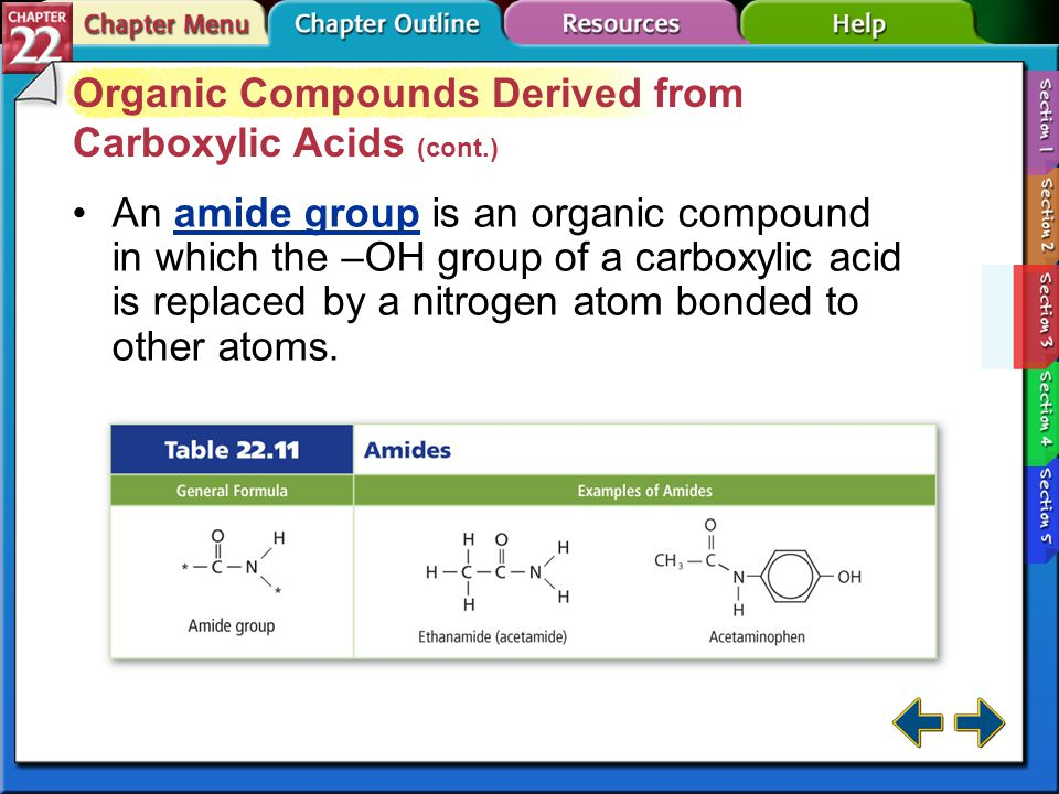 Section 22-3 Organic Compounds Derived from Carboxylic Acids (cont.) To name an ester, write the alkyl group followed by the name of the acid with the