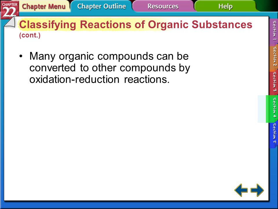 Section 22-4 Classifying Reactions of Organic Substances (cont.)