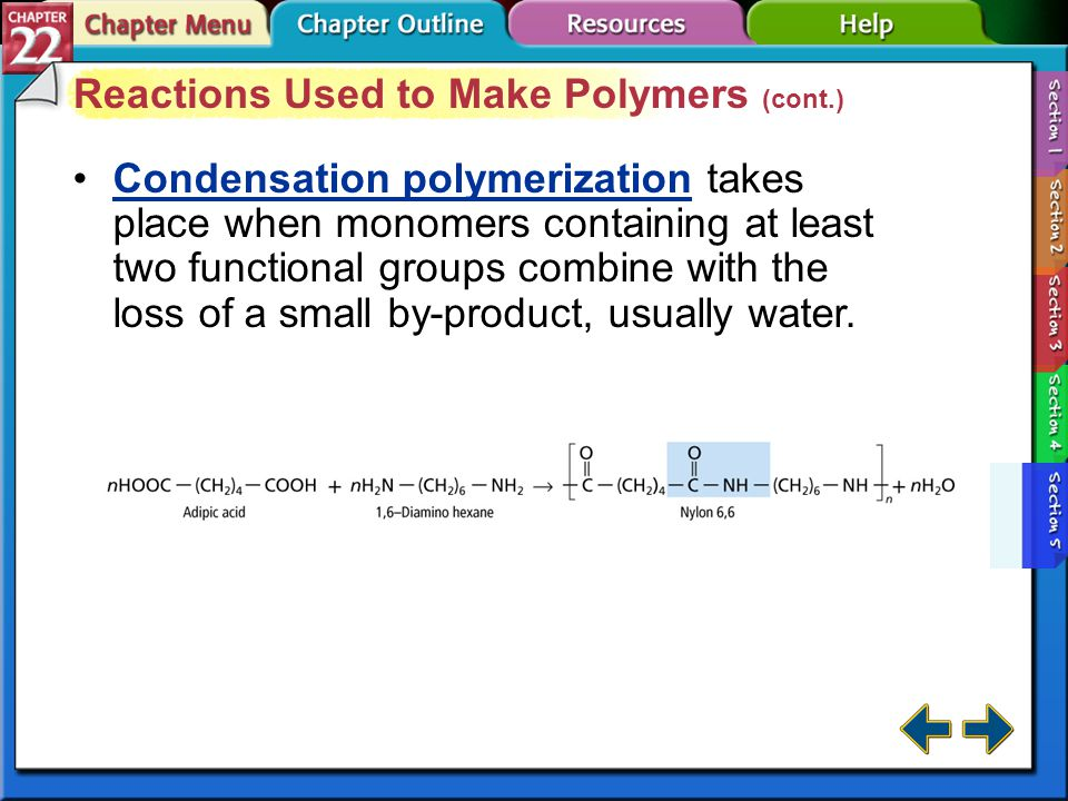 Section 22-5 Reactions Used to Make Polymers (cont.)
