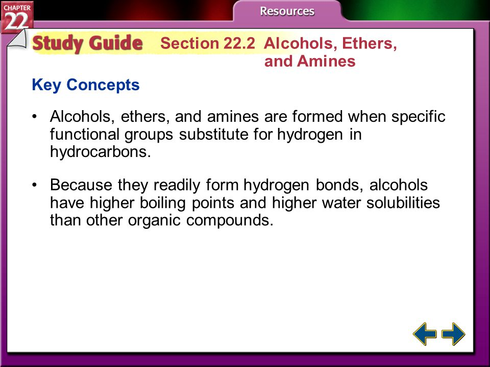 Study Guide 1 Section 22.1 Alkyl Halides and Aryl Halides Key Concepts The substitution of functional groups for hydrogen in hydrocarbons creates a wi