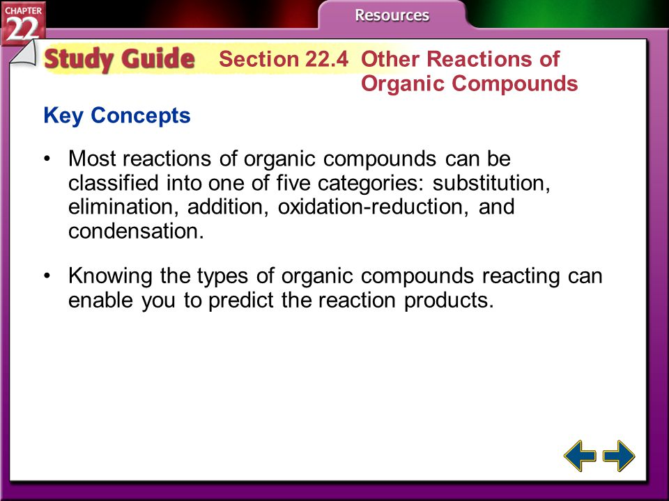 Study Guide 3 Section 22.3 Carbonyl Compounds Key Concepts Carbonyl compounds are organic compounds that contain the C=O group. Five important classes