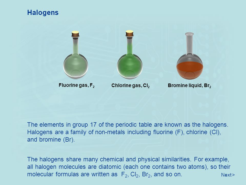 Halogens The elements in group 17 of the periodic table are known as the halogens. Halogens are a family of non-metals including fluorine (F), chlorin