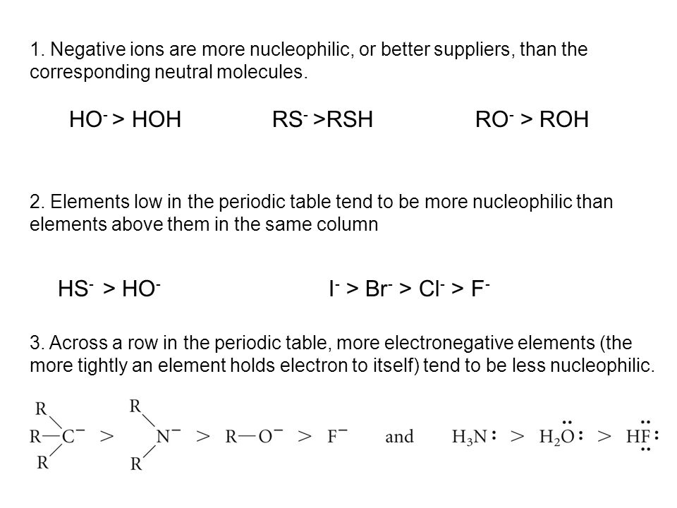 1. Negative ions are more nucleophilic, or better suppliers, than the corresponding neutral molecules. HO - > HOH RS - >RSH RO - > ROH 2. Elements low