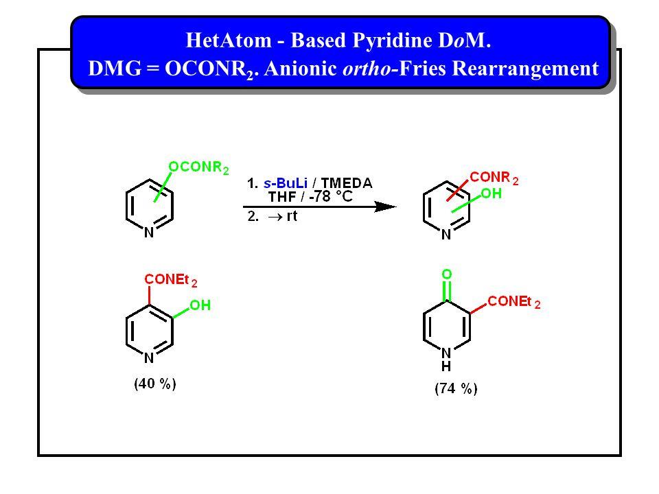 HetAtom - Based Pyridine DoM. DMG = OCONR 2.