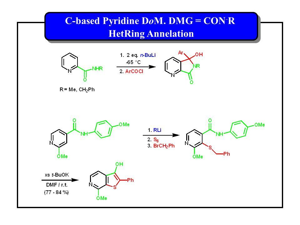 C-based Pyridine DoM. DMG = CON - R HetRing Annelation C-based Pyridine DoM.