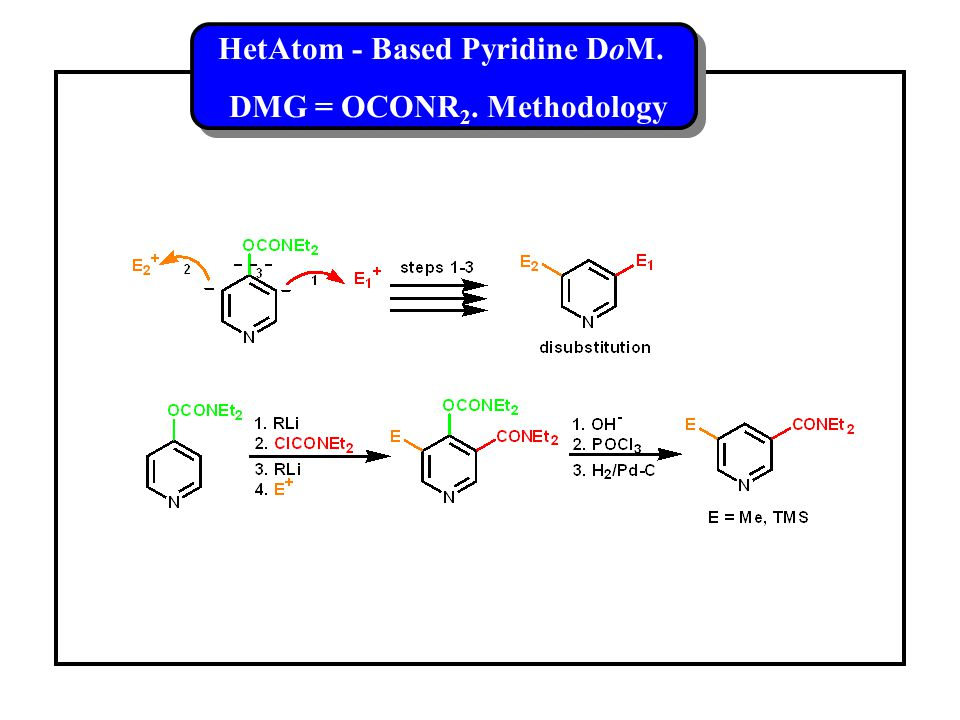 HetAtom - Based Pyridine DoM. DMG = OCONR 2. Methodology HetAtom - Based Pyridine DoM.