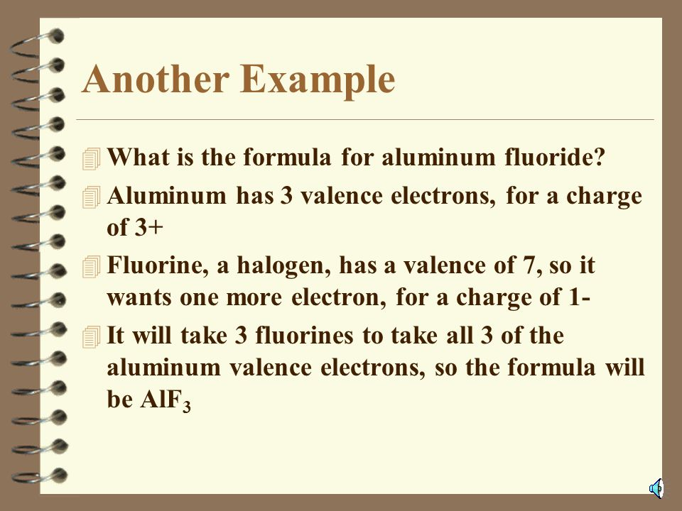 MnF 3 4 Manganese (not magnesium!) is a transition metal. Flourine is a halogen, (1-) 4 If each of the 3 fluorines took 1 electron, the manganese atom
