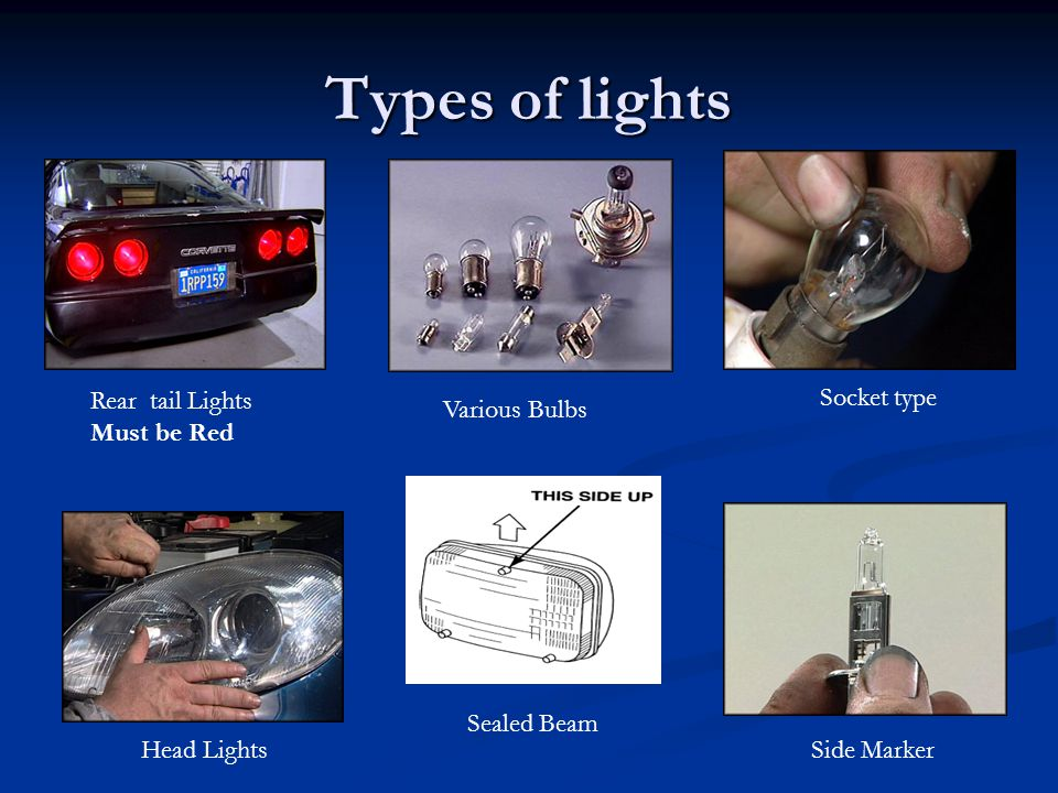 Types of lights Rear tail Lights Must be Red Head Lights Socket type Various Bulbs Side Marker Sealed Beam