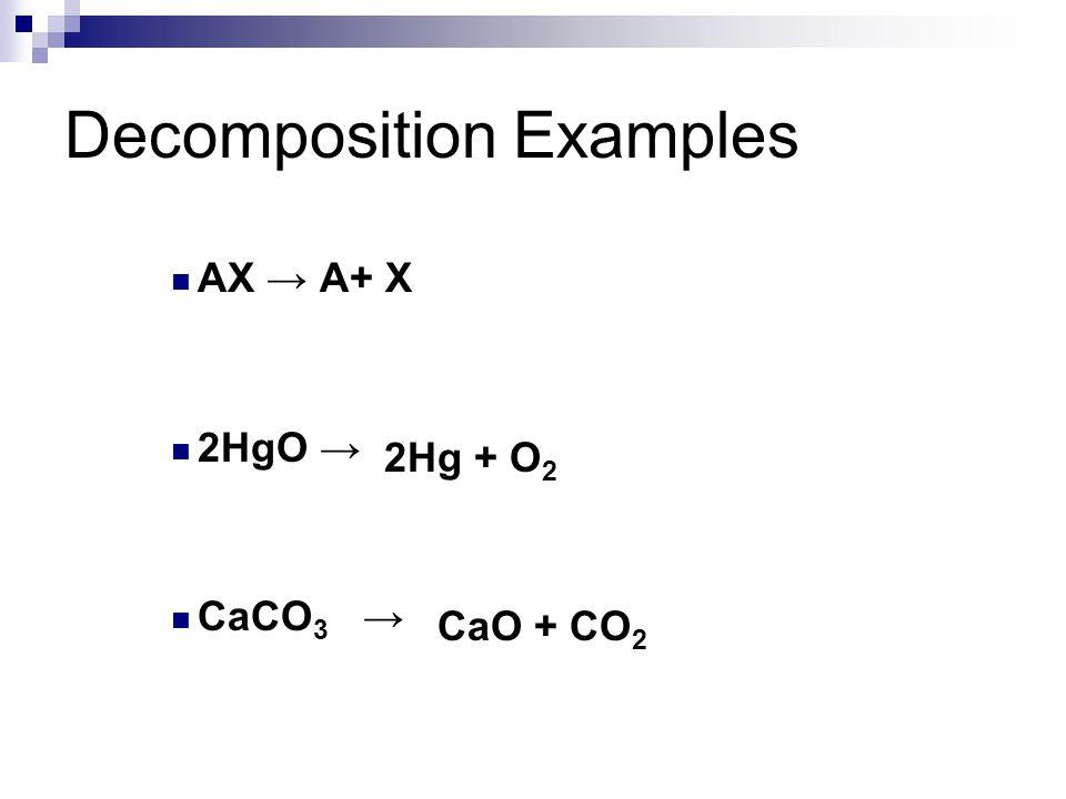 Decomposition Examples AX → A+ X 2HgO → CaCO 3 → 2Hg + O 2 CaO + CO 2