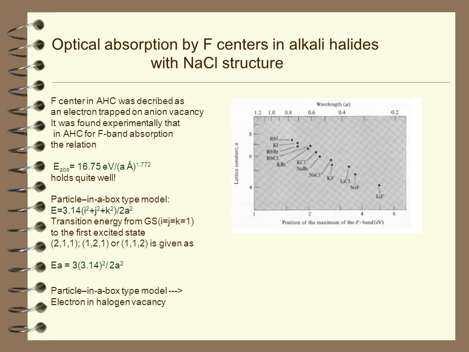 Optical absorption by F centers in alkali halides with NaCl structure F center in AHC was decribed as an electron trapped on anion vacancy It was found experimentally that in AHC for F-band absorption the relation E abs = 16.75 eV/(a Å) 1.772 holds quite well.