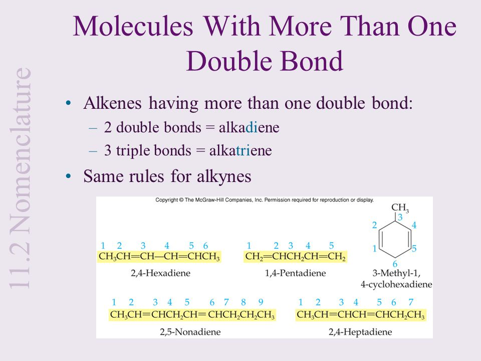 Molecules With More Than One Double Bond Alkenes having more than one double bond: –2 double bonds = alkadiene –3 triple bonds = alkatriene Same rules