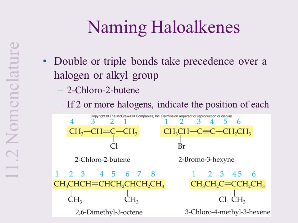 Naming Haloalkenes Double or triple bonds take precedence over a halogen or alkyl group –2-Chloro-2-butene –If 2 or more halogens, indicate the positi