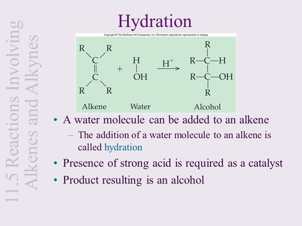 Hydration A water molecule can be added to an alkene –The addition of a water molecule to an alkene is called hydration Presence of strong acid is req