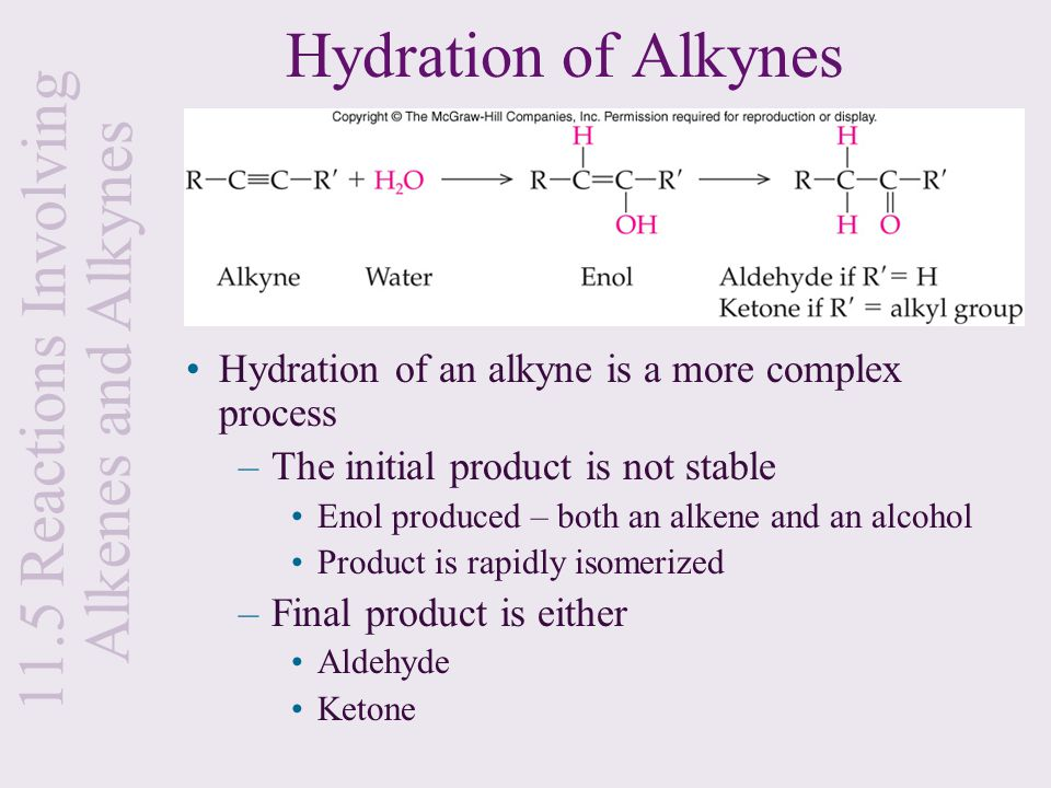 Hydration of Alkynes Hydration of an alkyne is a more complex process –The initial product is not stable Enol produced – both an alkene and an alcohol