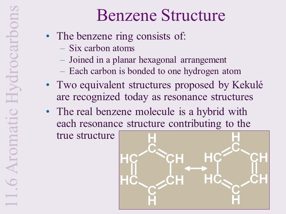 Benzene Structure The benzene ring consists of: –Six carbon atoms –Joined in a planar hexagonal arrangement –Each carbon is bonded to one hydrogen ato