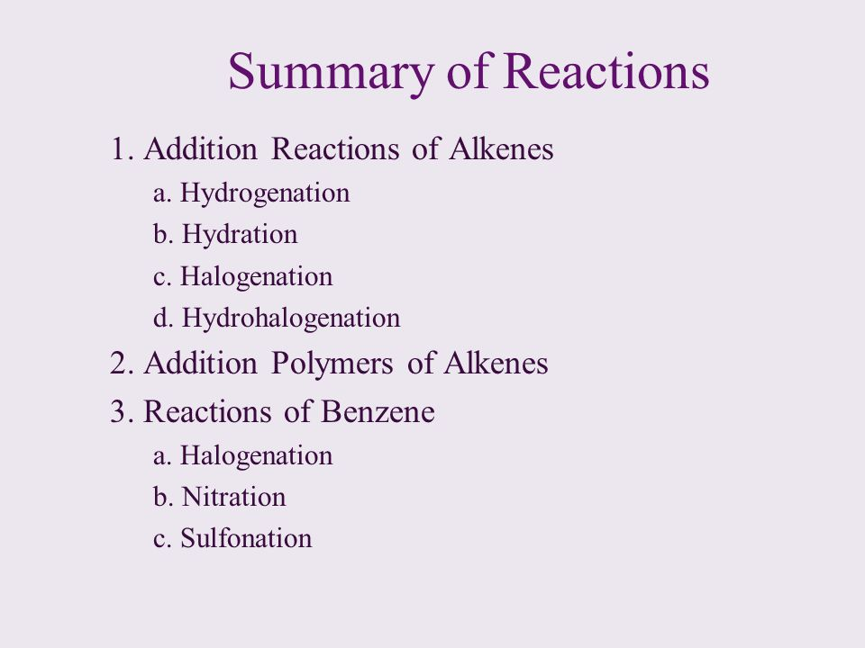 Summary of Reactions 1. Addition Reactions of Alkenes a. Hydrogenation b. Hydration c. Halogenation d. Hydrohalogenation 2. Addition Polymers of Alken