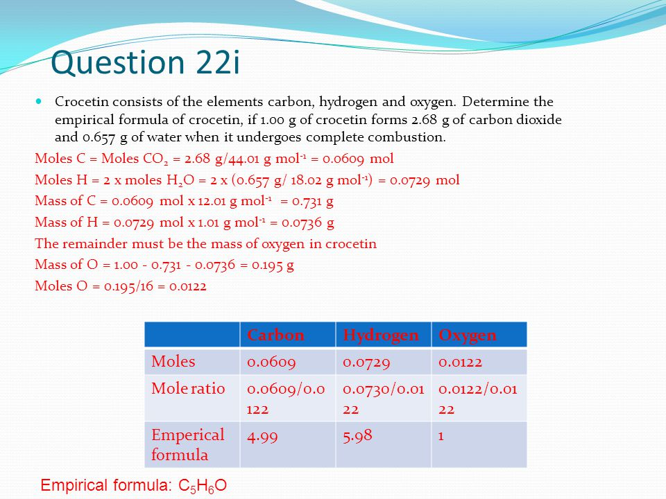 Question 22i Crocetin consists of the elements carbon, hydrogen and oxygen.