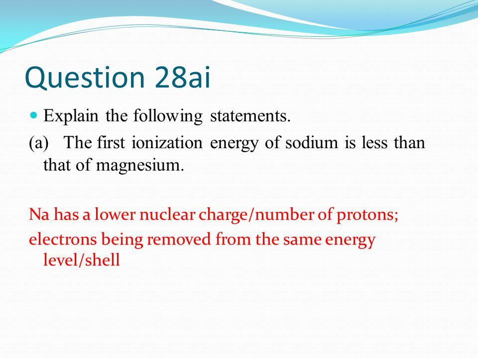 Question 28ai Explain the following statements.