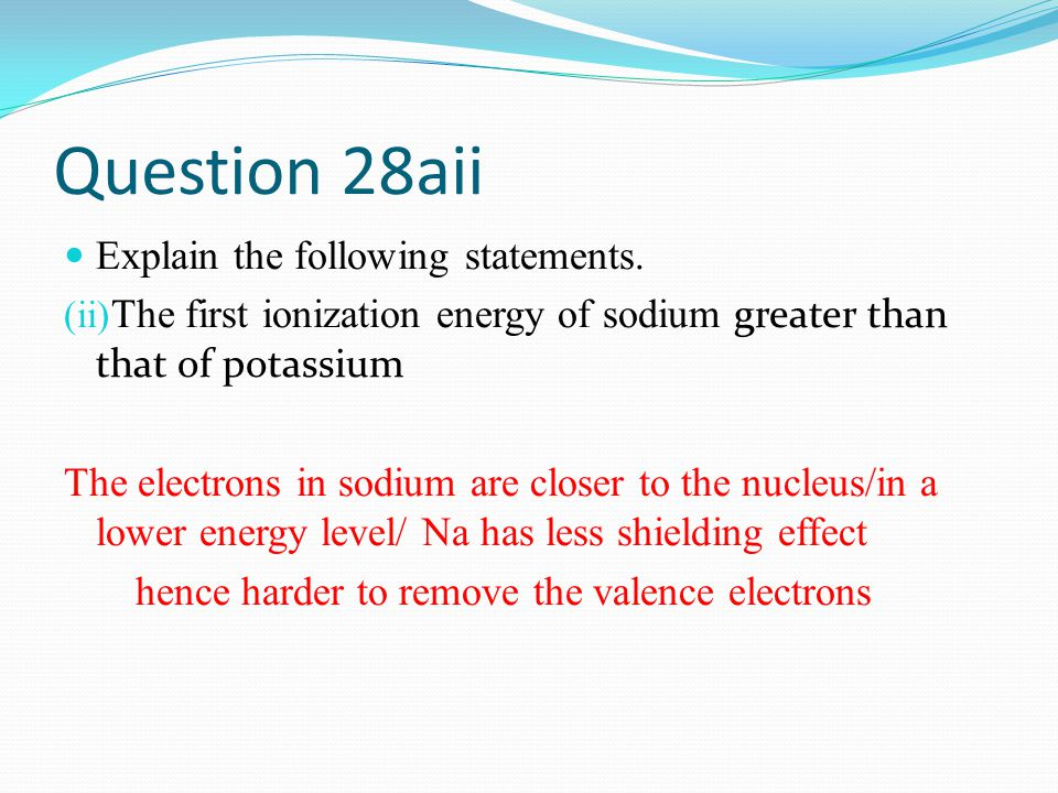 Question 28aii Explain the following statements.