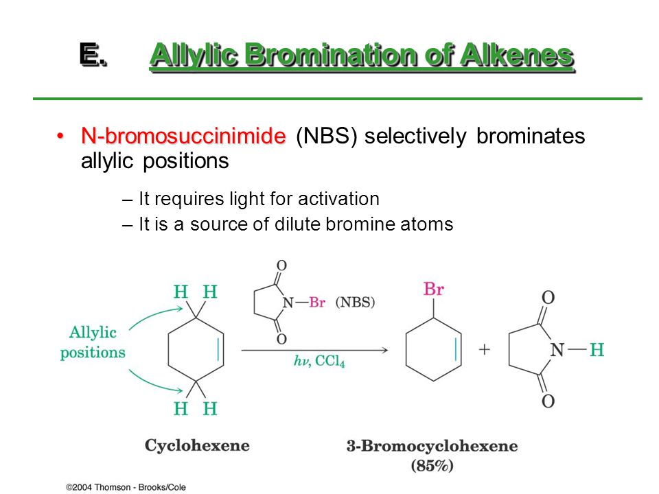E.Allylic Bromination of Alkenes N-bromosuccinimideN-bromosuccinimide (NBS) selectively brominates allylic positions –It requires light for activation