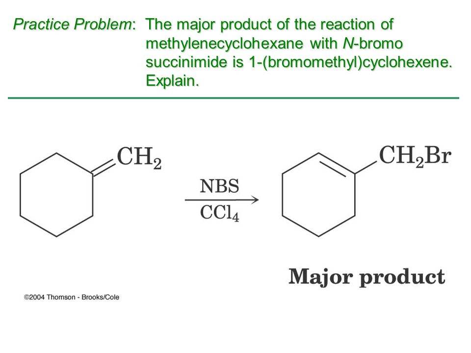 Practice Problem: The major product of the reaction of methylenecyclohexane with N-bromo succinimide is 1-(bromomethyl)cyclohexene. Explain.