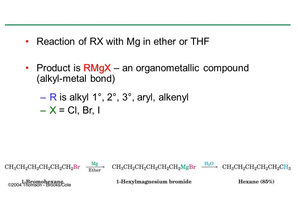 Reaction of RX with Mg in ether or THF RMgXProduct is RMgX – an organometallic compound (alkyl-metal bond) –R –R is alkyl 1°, 2°, 3°, aryl, alkenyl –X