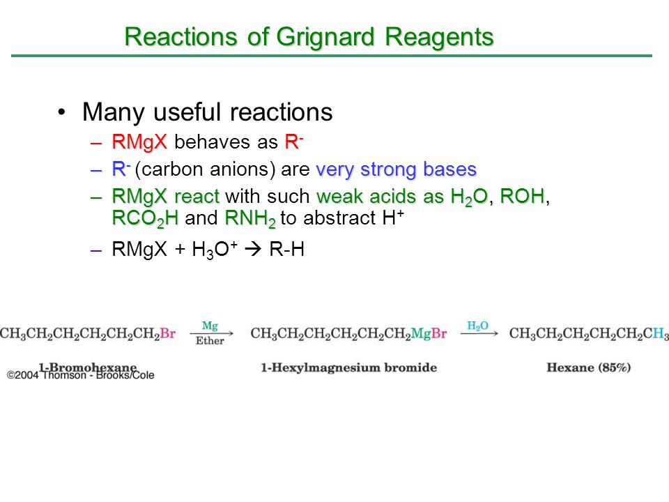 Reactions of Grignard Reagents Many useful reactions –RMgXR - –RMgX behaves as R - –R - very strong bases –R - (carbon anions) are very strong bases –