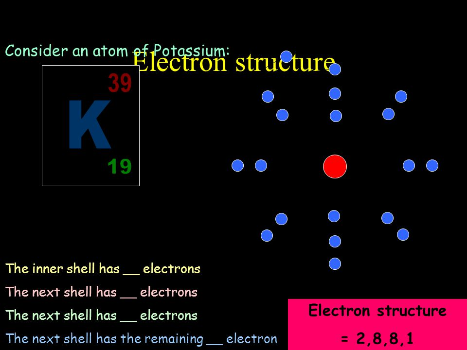 Electron structure Consider an atom of Potassium: Potassium has 19 electrons. These are arranged in shells… Nucleus The inner shell has __ electrons T
