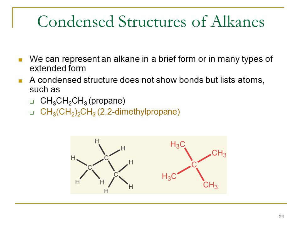 24 Condensed Structures of Alkanes We can represent an alkane in a brief form or in many types of extended form A condensed structure does not show bonds but lists atoms, such as  CH 3 CH 2 CH 3 (propane)  CH 3 (CH 2 ) 2 CH 3 (2,2-dimethylpropane)