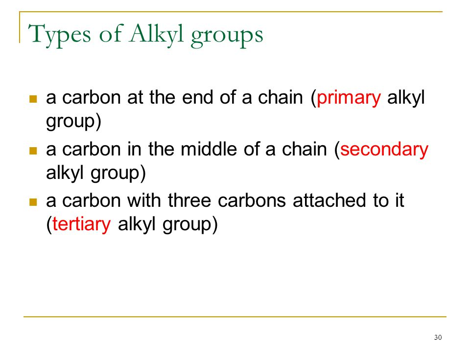 30 Types of Alkyl groups a carbon at the end of a chain (primary alkyl group) a carbon in the middle of a chain (secondary alkyl group) a carbon with three carbons attached to it (tertiary alkyl group)