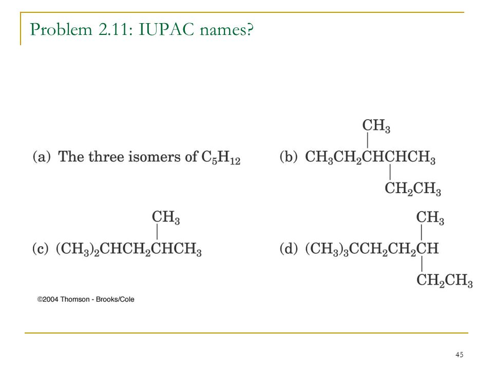 45 Problem 2.11: IUPAC names