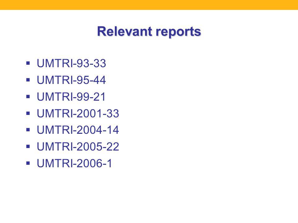 Relevant reports  UMTRI-93-33  UMTRI-95-44  UMTRI-99-21  UMTRI-2001-33  UMTRI-2004-14  UMTRI-2005-22  UMTRI-2006-1