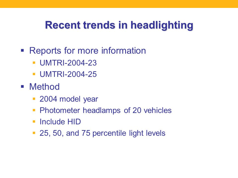Recent trends in headlighting  Reports for more information  UMTRI-2004-23  UMTRI-2004-25  Method  2004 model year  Photometer headlamps of 20 vehicles  Include HID  25, 50, and 75 percentile light levels