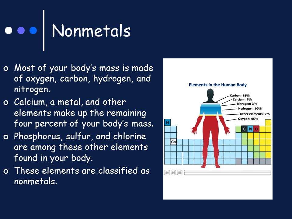 Nonmetals Most of your body's mass is made of oxygen, carbon, hydrogen, and nitrogen. Calcium, a metal, and other elements make up the remaining four