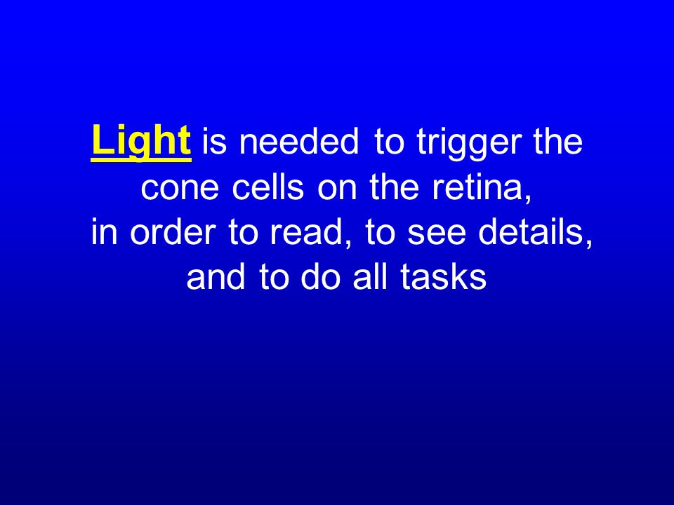 Light is needed to trigger the cone cells on the retina, in order to read, to see details, and to do all tasks