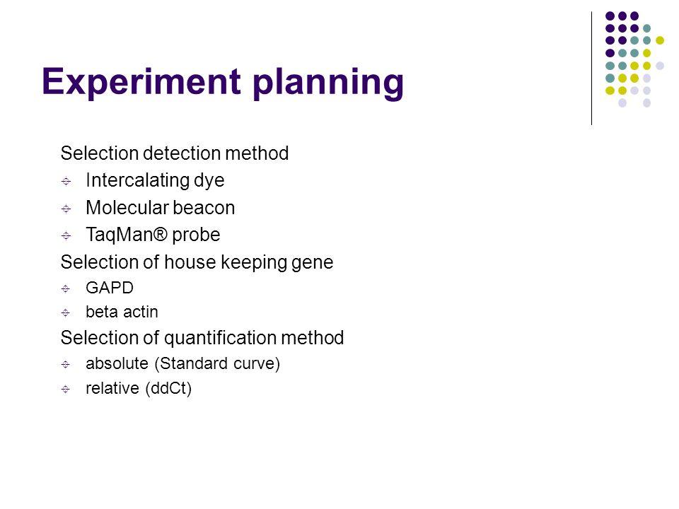 Experiment planning Selection detection method  Intercalating dye  Molecular beacon  TaqMan® probe Selection of house keeping gene  GAPD  beta ac
