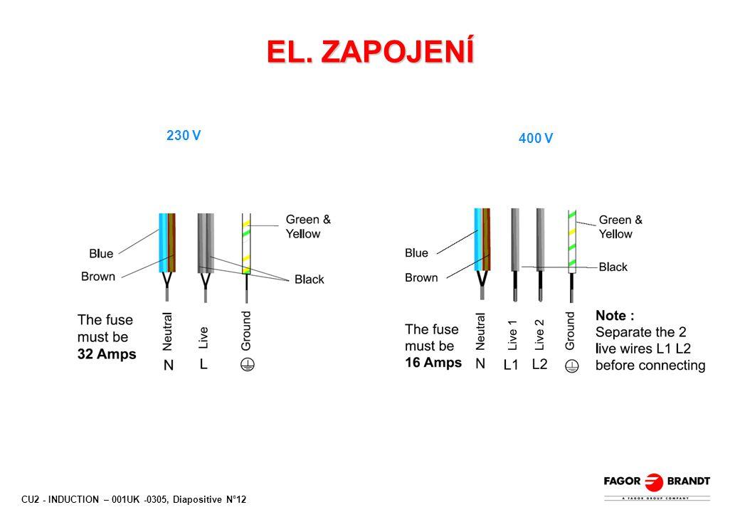 CU2 - INDUCTION – 001UK -0305, Diapositive N°12 EL. ZAPOJENÍ 230 V 400 V