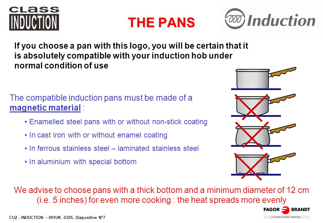 CU2 - INDUCTION – 001UK -0305, Diapositive N°7 THE PANS If you choose a pan with this logo, you will be certain that it is absolutely compatible with