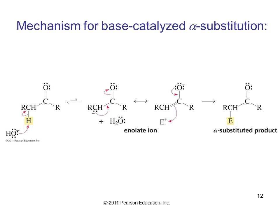© 2011 Pearson Education, Inc. 12 Mechanism for base-catalyzed  -substitution: