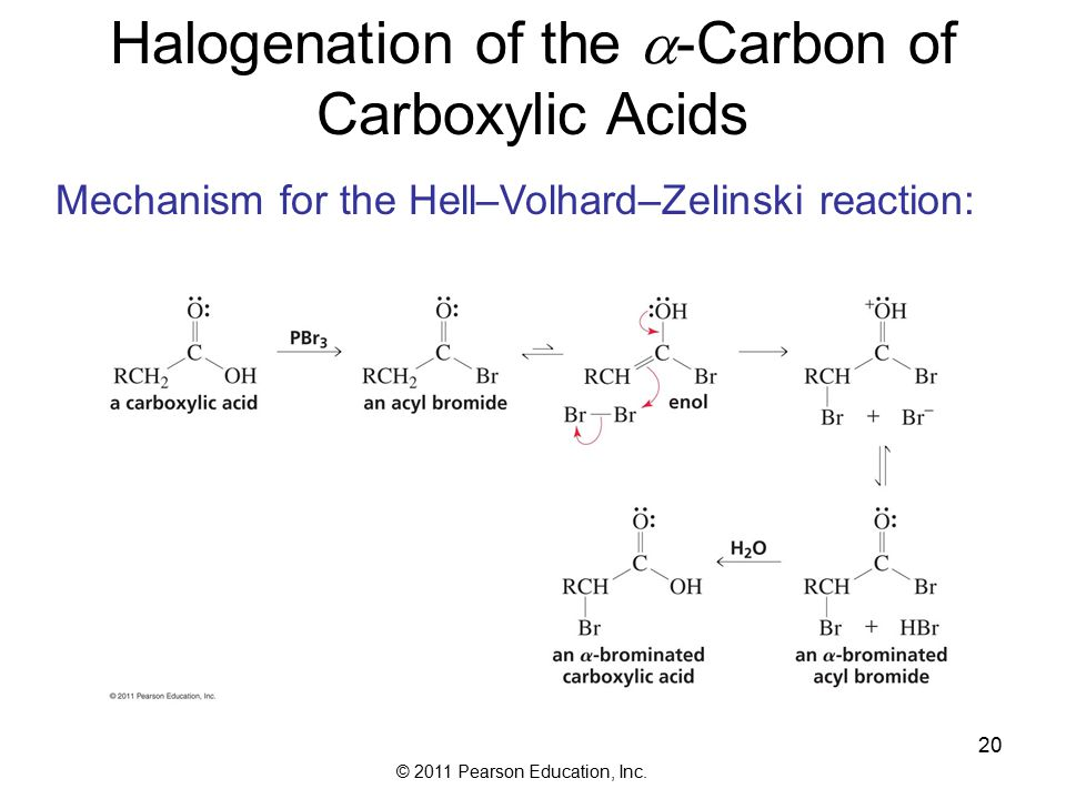 © 2011 Pearson Education, Inc. 20 Halogenation of the  -Carbon of Carboxylic Acids Mechanism for the Hell–Volhard–Zelinski reaction: